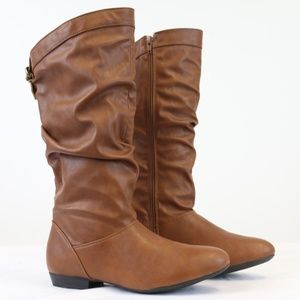 Brown Slouch Mid Calf Side Zipper Boots Women's